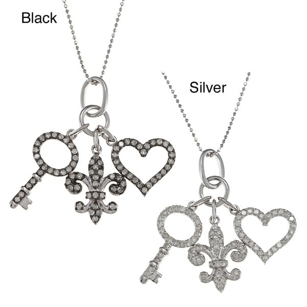 Sterling Silver 1ct TDW Diamond Assorted Charm Necklace (J-K, I2-I3)