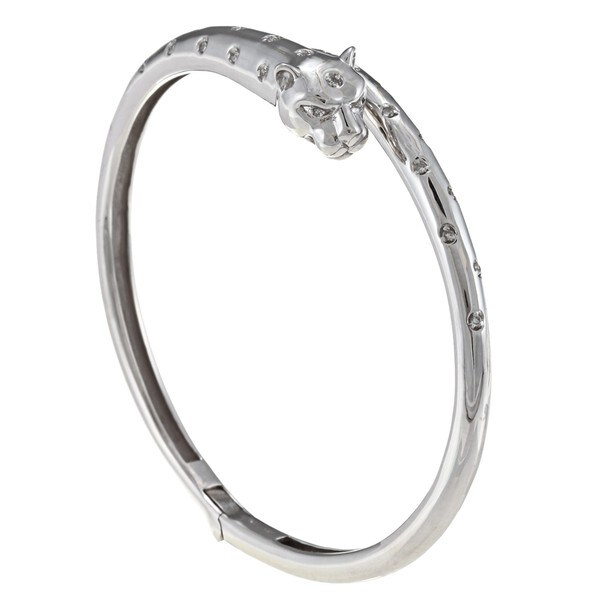 Sterling Silver 1/3ct TDW Diamond Panther Bangle Bracelet (J-K, I2-I3)
