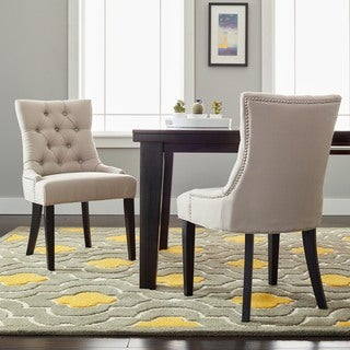 Safavieh En Vogue Dining Abby Taupe Linen Nailhead Side Chairs (Set of 2)