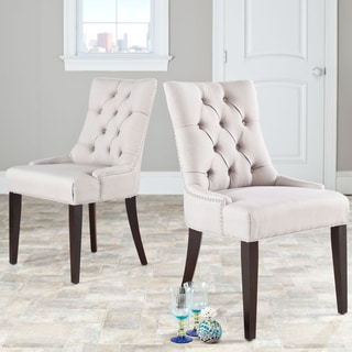 Safavieh Marseille Modern Beige Linen Nailhead Dining Chairs (Set of 2)