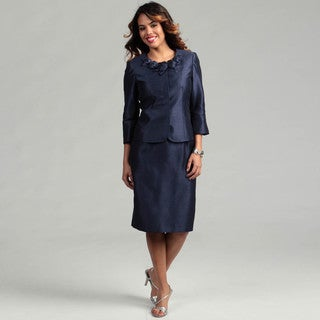 Kasper Women's MIdnight Blue 2-piece Flower Skirt Suit