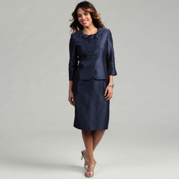 Kasper Women's MIdnight Blue 2-piece Flower Skirt Suit
