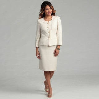 Kasper Women's Cream/ Almond 2-piece Skirt Suit