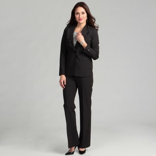 Nine West Women's 2-piece Pinstripe Ruffle Collar Pant Suit