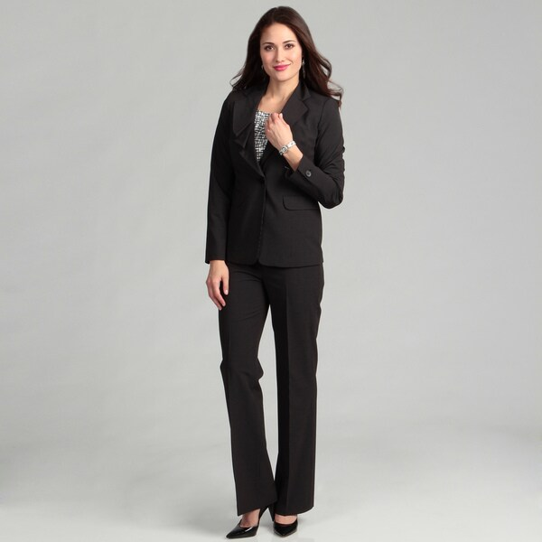 Nine West Women's 2-piece Pinstripe Ruffle Collar Pant Suit