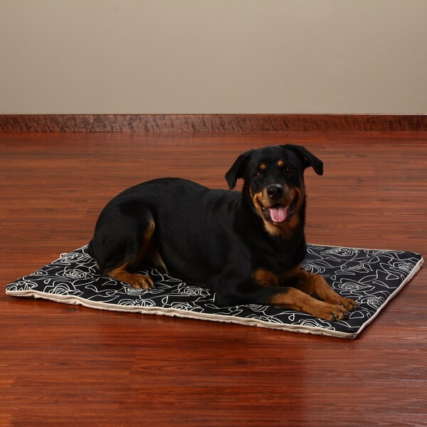 Crypton 'Bed of Roses' Black Travel Dog Bed (30 x 42)