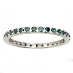 Beverly Hills Charm 14k White Gold 1/2ct TDW Blue Diamond Eternity Band (Blue, I1-I2)