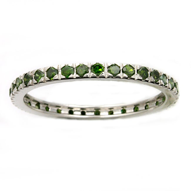 Beverly Hills Charm 14k White Gold 1/2ct TDW Green Diamonds Eternity Stackable Band Ring (Blue, I1-I2)
