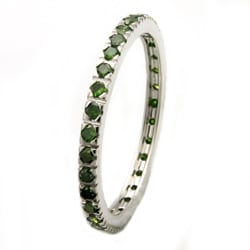 Beverly Hills Charm 14k White Gold Green Diamond Band