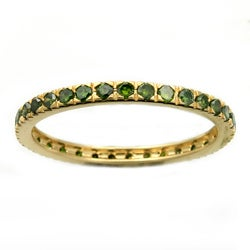 Beverly Hills Charm 14k Yellow Gold 1/2ct TDW Green Diamond Wedding Band