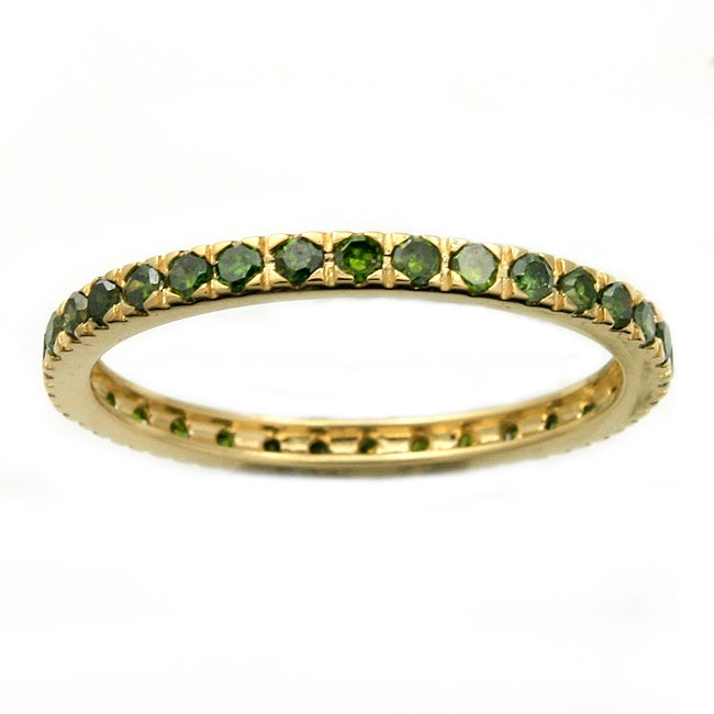 Beverly Hills Charm 14k Yellow Gold 1/2ct TDW Green Diamonds Eternity Stackable Band Ring (Blue, I1-I2)