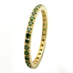 Beverly Hills Charm 14k Yellow Gold Green Diamond Band