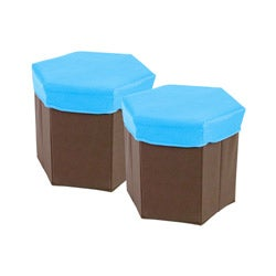 Hexagon Shaped Storage Box Stool (Set of 2)