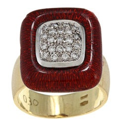 18k Yellow Gold 1/2ct TDW Diamond and Red Enamel Estate Ring (H-I, SI1-SI2)