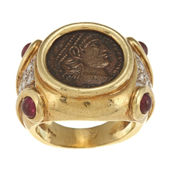 18k Yellow Gold Ruby and 1/3ct TDW Diamond Coin Ring (I-J, SI1-SI2)