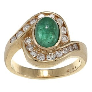 18k Yellow Gold Emerald and 5/8ct TDW Diamond Estate Ring (G-H, SI1-SI2)