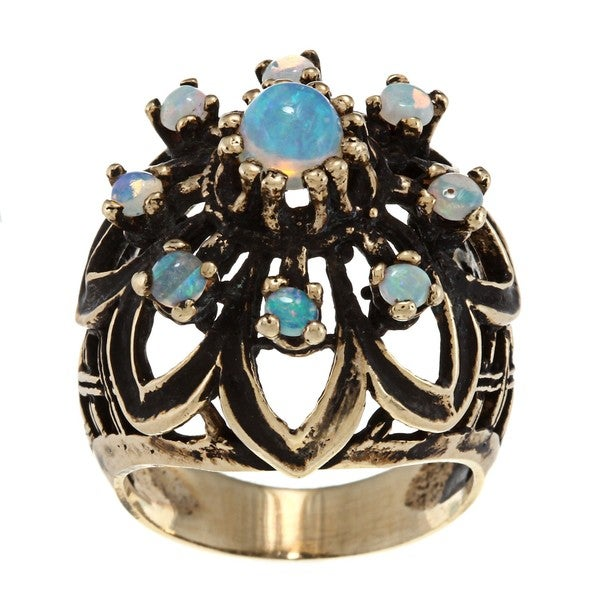 Pre-owned 14k Yellow Gold Opal Cluster Circa 1970s Ring