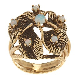 14k Yellow Gold Opal Cluster Circa 1970's Ring