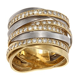 18k Two-tone Gold 1 1/2ct TDW Diamond Twisted Ring (H-I, SI1-SI2)