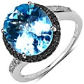 Malaika Sterling Silver 5-1/2ct Blue Topaz and Black Diamond Ring
