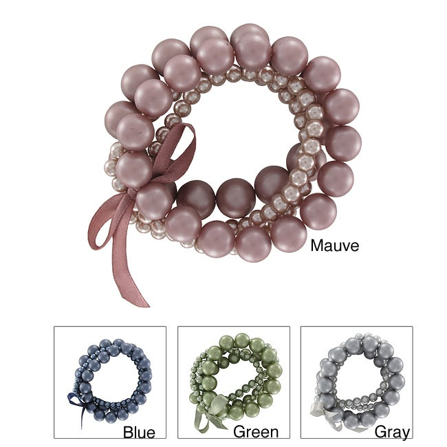 Roman Colored Faux Pearl Stretch Bracelets (Set of 4)