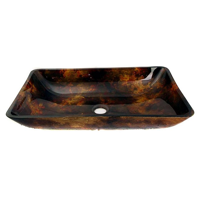 Overstock.com Glass Orange/ Black Sink Bowl