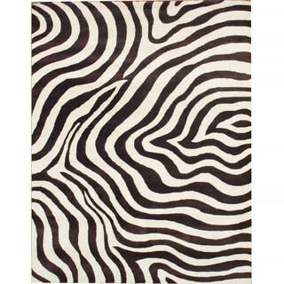 Herat Oriental Indo Hand-tufted Zebra-print Brown/ Ivory Wool Rug (8' x 10')