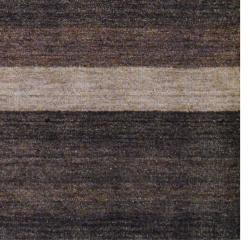 Indo Hand-Knotted Tibetan Brown Striped Wool Rug (4' x 6')