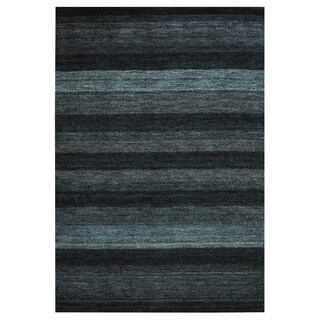 Indo Hand-Knotted Tibetan Gray/Black Wool Rug (4' x 6')