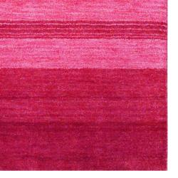 Indo Hand-Knotted Tibetan Red Stripe Pattern Wool Rug (4' x 6')