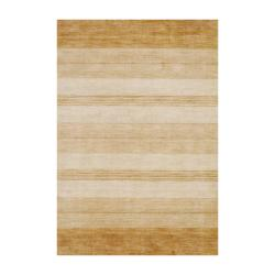 Indo Hand-Knotted Tibetan Beige Wool Rug in a Striped Pattern (4' x 6')