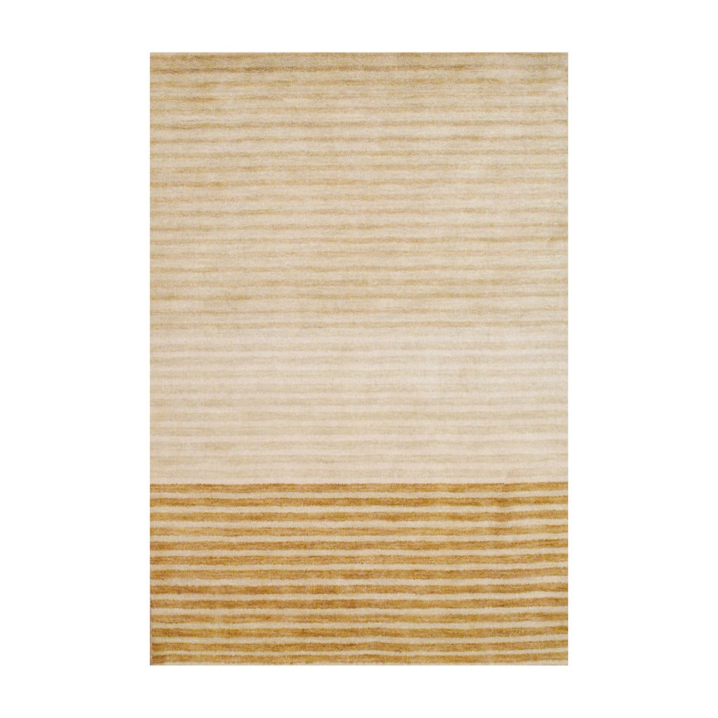 Contemporary Indo Hand-Knotted Tibetan Beige Wool Rug (4' x 6')