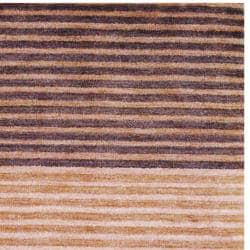 Hand-Knotted Indo Tibetan Brown/Gold Wool Rug (4' x 6')