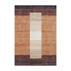 Hand-Knotted Indo Tibetan Brown Geometric Wool Rug (4' x 6')