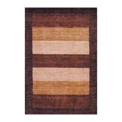 Indo Hand-Knotted Tibetan Brown/Camel Wool Rug (4' x 6')