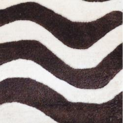 Indo Hand-tufted Zebra-print Brown/ Ivory Wool Rug (2' x 3')