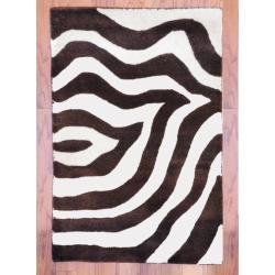 Indo Hand-tufted Zebra-print Brown/ Ivory Wool Rug (2' x 3')