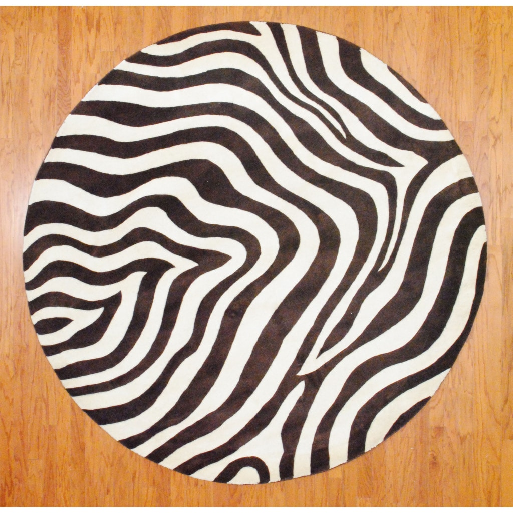 Indo Hand-tufted Zebra-print Brown/ Ivory Wool Rug (8 ...