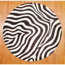 Indo Hand-tufted Zebra-print Brown/ Ivory Wool Rug (8' Round)
