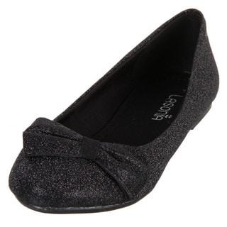 Lasonia Women's Black Glitter Round-toe Bow Detail Flats