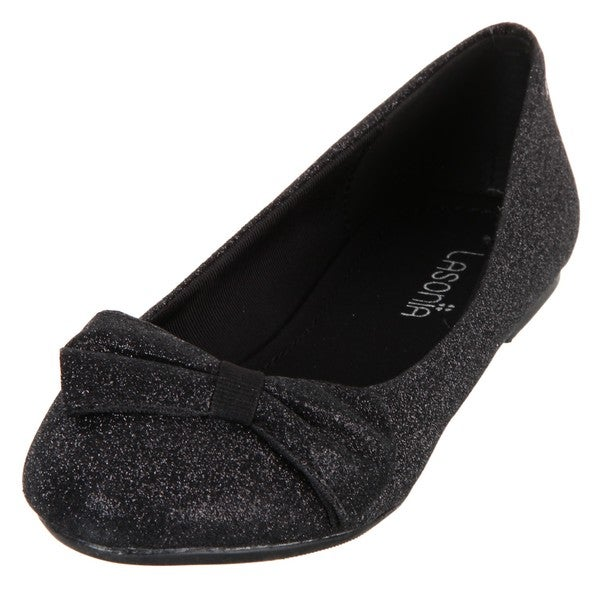 Lasonia Women's Black Glitter Round-toe Bow Detail Flats