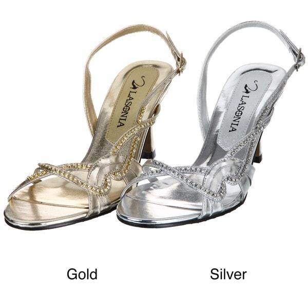 Lasonia Women's Gold Metallic Rhinestone Heels