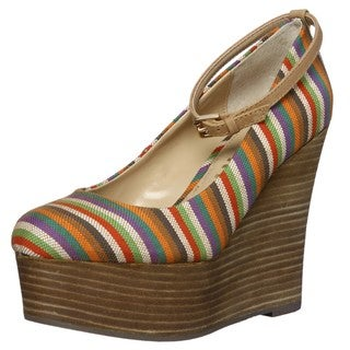 Report Womens 'Kim2' Striped Platform Wedges