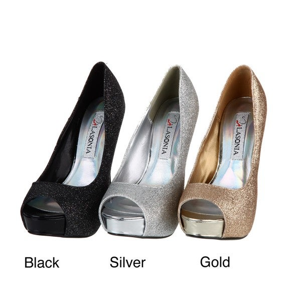 Lasonia Women's Glitter Peep Toe Pumps