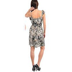 Stanzino Women's Grey Ivory Floral-print Ruffled Single-shoulder Dress