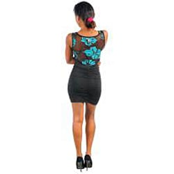 Stanzino Women's Black Teal Sheer Floral-accent Dress