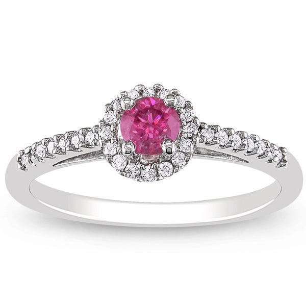 Miadora 14k White Gold 3/8ct TDW Pink and White Diamond Ring (H-I, I1-I2)