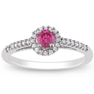 Miadora 14k White Gold 3/8ct TDW Pink and White Diamond Ring (H-I, I1-I2)