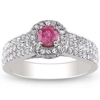 Miadora 14k White Gold 1ct TDW Pink and White Diamond Halo Ring (H-I, I1-I2)