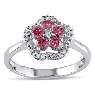 Miadora 14K White Gold 1/2Ct TDW Pink and White Diamond Fashion Ring
